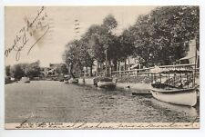 CANADA carte postale ancienne différents boats on Lachine canal