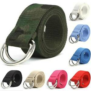 Mens Women Canvas Double D Ring Waists Belts Fabric Webbing Strap Belt Waistband