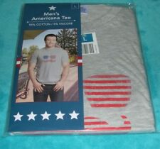 Men's Patriotic Tee Large Gray Shades Mustache Stars Stripes