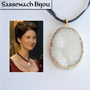 Claire Fraser Poison Detector White Druzy Pendant Necklace - Outlander Jewelry