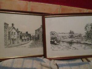 Pair of Neil Wingate prints: Grassington Main Street/Linton church and Low Mill