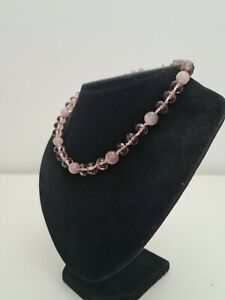 M&S Pink Glass Faceted Collar Lenght Beaded Necklace Costume Jewellery
