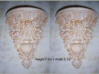 2 Architectural flower ornate plaster corbels brackets shelf wall decor plaques