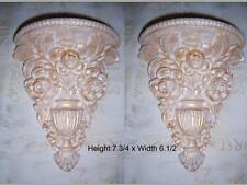 2 Architectural flower ornate plaster corbels brackets shelf wall decor plaques