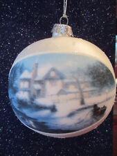 "Large Thomas Kinkade 2004 Christmas Ornament-Moonlit Sleigh Ride-4"" T."