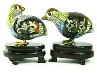 Vintage Cloisonne Enamel Bird Pair of Quail Partridge Figurines with Wood Stand