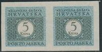 KROATIEN 1942 Porto 5 K. postfr. Kab.-Paar ABARTEN: ungezähnt + links u rechts