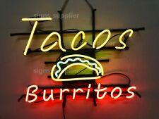 "New Tacos Burritos Restaurant Beer Bar Neon Light Sign 24""x20"""