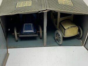 Bing German 1920s Litho Tin 2-Car Garage w/ Two Wind Up Tin Cars