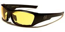 Hombre CHOPPERS Moto Noche Gafas De Sol Acolchada Conducción Amarillo Lentes
