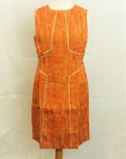 Anne Klein Linen Jacquard Sheath Paprika Dress Size 16 uk rrp £100 CR092 FF 07