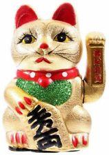 Maneki Neko Winkekatze Keramik 17cm gold Glücksbringer