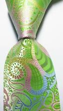 New Classic Paisley Green Blue Pink JACQUARD WOVEN 100% Silk Men's Tie Necktie