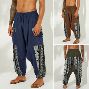 Men Vintage Harem Baggy Long Trousers Casual Loose Hippy Yoga Thai Festival Pant
