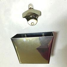 Wall Mount Bar Beer Bottle Opener Cap Catcher Box Stainless Steel Holder Box