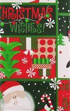 Santa/Frosty/Penguin's Bright &Merry Christmas Wishes Vinyl Tablecloth Var Sizes