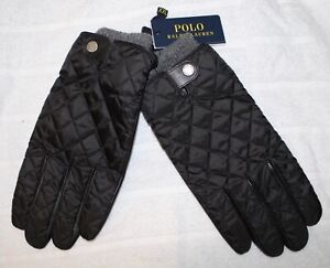 Polo Ralph Lauren Mens Black Sheep Leather Gray Wool Accents Gloves NWT 2XL XXL