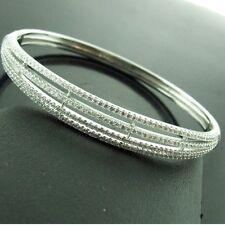 294 GENUINE REAL 925 DIAMOND SIMULATED STERLING SILVER LADIES BANGLE BRACELET