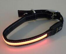 LED Hunde Halsband Schwarz 40-50 cm rot oranger Leuchtstreifen Leuchtband DCR4