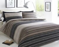 Pieridae Textured Stripe Duvet Cover Pillowcase Bed Set Single Double King Brown