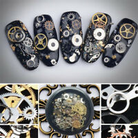 100PCS 3D Punk Gear Design Nail Art Decoration Metal Studs Manicure Tips Decor