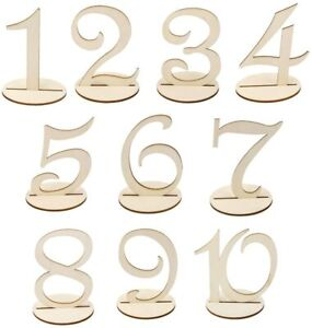 Wooden 10cm Table Numbers 1-10 Base Set Wedding Birthday Party