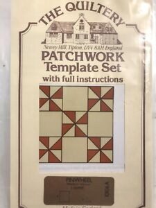 Patchwork Template Set with instructions Pinwheel 2 shapes 4 inches square