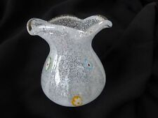 Murano Small Pulegoso Vase with Murrines, Ruffled Top