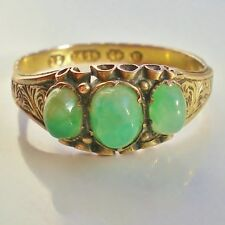 Stunning Antique Victorian 15ct Gold Jade Cabochon set Ring c1869; UK Size 'O'