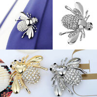 2Pcs Unisex Crystal Honey Bee Wing Insect Bug Hat Tie Lapel Pin Badge Brooch