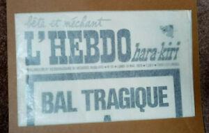 L'HEBDO HARA-KIRI  - N°94 -  BAL TRAGIQUE A COLOMBEY : 1 MORT