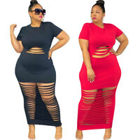 Plus Size Women Round Neck Short Sleeve Burn-out Solid Fashion Bodycon Dress