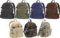 Vintage Canvas Backpack Knapsack, School Work Travel Bag Pack (Mini or Jumbo)