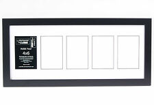 5 Opening Glass Face 10x24 Black Picture Frame Holds 4x6 Media White Collage Mat