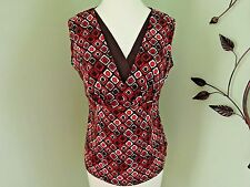 East 5th Knit Top  Brown Multi Geometric V-Neck Sleeveless Polyester Spandex  M