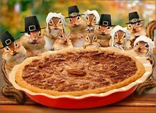 Chipmunks Deliver Pie Funny Thanksgiving Card - Greeting Card by Avanti Press