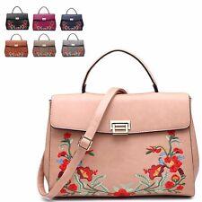 Ladies Fx Leather Floral Satchel Bag Flower Shoulder Bag Handbag Grab Bag M7538