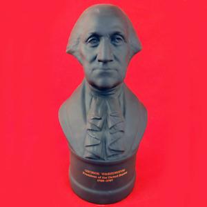 "WEDGWOOD GEORGE WASHINGTON Black Basalt Bust 8.5"" tall made England NEW"