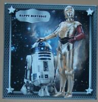 HANDMADE 3-D  STAR WARS  BIRTHDAY GRETTING CARD WITH A SENTIMENT WEEKEND SALE