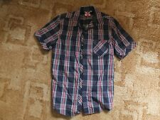 Mens Lee Cooper Chest Pockets Short Sleeve Checked Cotton Shirt Small