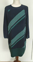 WHISTLES Ladies Blue Green 100% Silk 3/4 Sleeve Lined Smock Dress Size UK 10