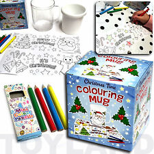 COLOURING MUG & PENCILS BOYS GIRLS XMAS CRAFT TOY GIFT CHRISTMAS STOCKING FILLER