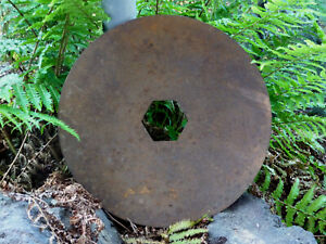 "Vintage Plow 17-7/8"" Round Disc Blade Hexagon Center Hole Hardened Steel Rustic"