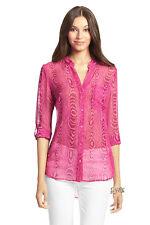 $248! NWT Diane von Furstenberg Gilmore Pink 100% Silk Sheer Top Blouse Size 4
