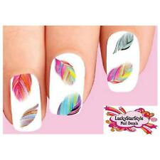 Waterslide Feather Nail Decals Set of 20 - Colorful Rainbow Feathers Assorted