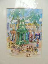 "Gilley Gobinet Caribbean Watercolor Print Street Scene 16"" x 20"""