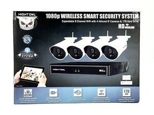 Night Owl 8-Channel Security Camera System 4 Wireless 1080p HD Cameras 1TB.