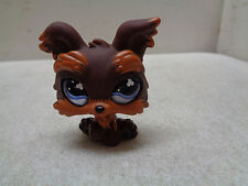 Littlest Pet Shop Lps Brown Yorkie Terrier Puppy Dog #509 Purple Realistic Eyes