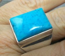 Large 925 Silver SLEEPING BEAUTY TURQUOISE Ring Sz P-7.5 R376~Silverwave*uk
