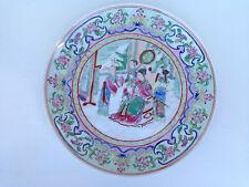 assiette chinoise chine porcelaine canton personnage signé 27 cm